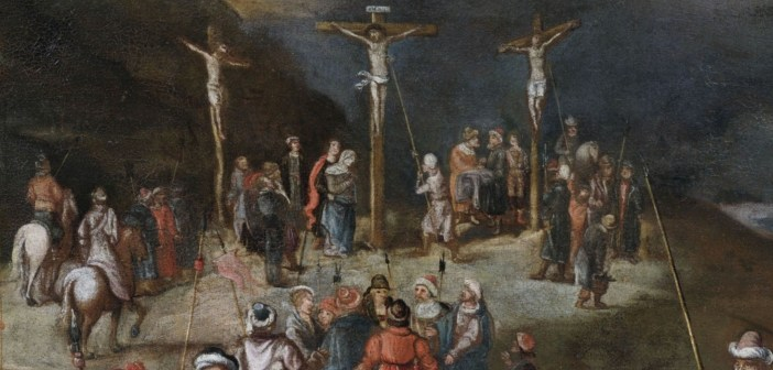 Crucifixion of Christ. Oil by unknown painter mid 17th century