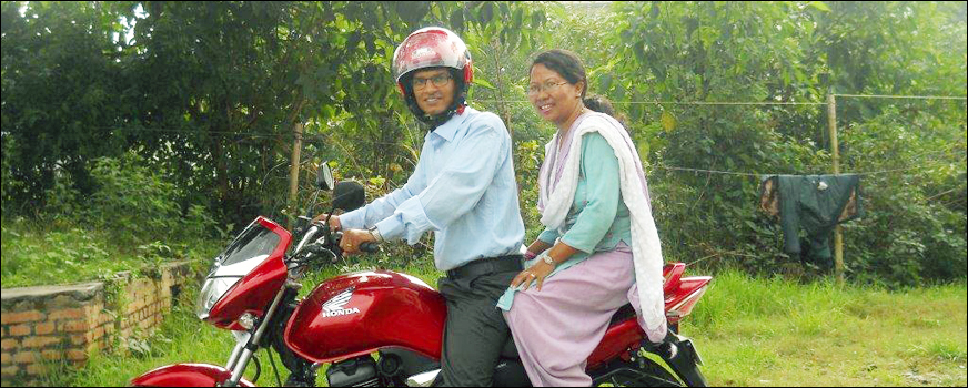 Ajay and Basun on the new Motorcycle